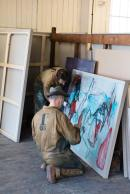 Heckel's Horse at work. Billy Childish and Edgeworth painting at Chatham dockyards.