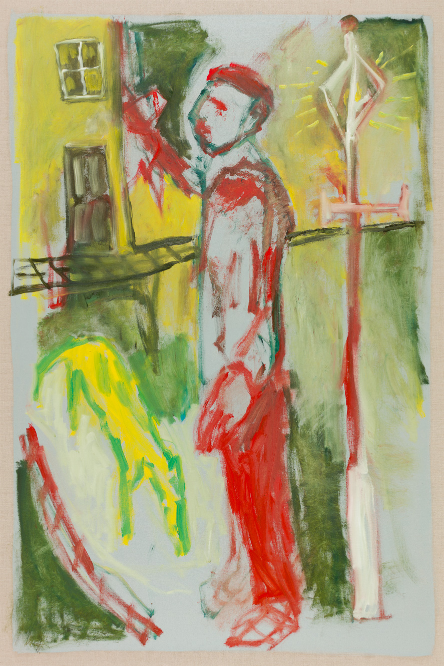 Man stood with yellow dog – by Heckels Horse (Billy Childish & Edgeworth)