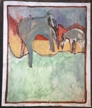 elephant and a wolf by the sea 1000