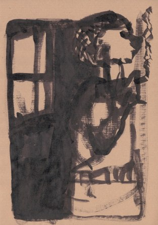 Woman by a window - ink sketch by Edgeworth.